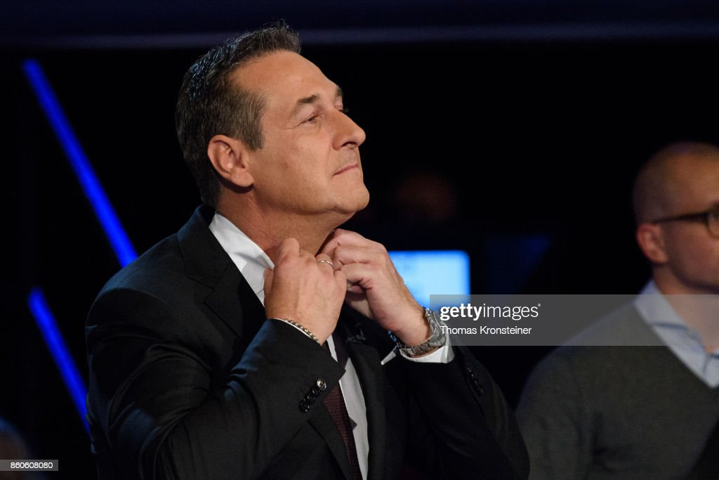 Heinz-Christian Strache of the right-wing Austrian Freedom Party (FPOe) is seen at ORF studios ahead the 'Elefantenrunde' television debate between the lead candidates prior to legislative elections on October 12, 2017 in Vienna, Austria. Austria will hold elections on October 15 and many analysts are predicting a win for the conservative Austrian People's Party (OeVP) of Sebastian Kurz, though that the next government coalition will very likely include the right-wing Austria Freedom Party (FPOe).