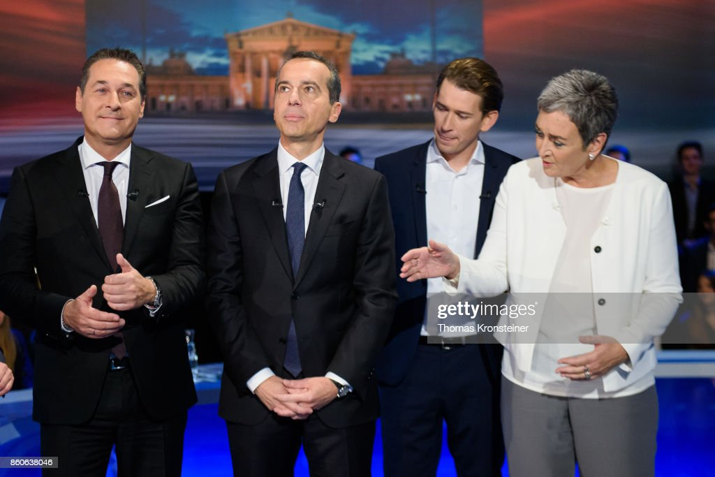 Heinz-Christian Strache of the right-wing Austrian Freedom Party (FPOe), Austrian Chancellor Christian Kern of the Social Democratic Party (SPOe), Austrian Foreign Minister Sebastian Kurz of Austrian Peoples Party (OeVP) and Ulrike Lunacek of the Austrian green party (Die Gruenen) are seen at ORF studios ahead the 'Elefantenrunde' television debate between the lead candidates prior to legislative elections on October 12, 2017 in Vienna, Austria. Austria will hold elections on October 15 and many analysts are predicting a win for the conservative Austrian People's Party (OeVP) of Sebastian Kurz, though that the next government coalition will very likely include the right-wing Austria Freedom Party (FPOe).