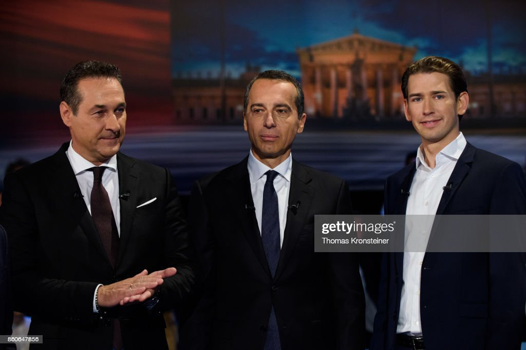 Heinz-Christian Strache of the right-wing Austrian Freedom Party (FPOe), Austrian Chancellor Christian Kern of the Social Democratic Party (SPOe) and Austrian Foreign Minister Sebastian Kurz of Austrian Peoples Party (OeVP) are seen at ORF studios ahead the 'Elefantenrunde' television debate between the lead candidates prior to legislative elections on October 12, 2017 in Vienna, Austria. Austria will hold elections on October 15 and many analysts are predicting a win for the conservative Austrian People's Party (OeVP) of Sebastian Kurz, though that the next government coalition will very likely include the right-wing Austria Freedom Party (FPOe).