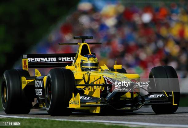 HeinzHarald Frentzen driving the Benson and Hedges Jordan Racing Jordan EJ11 Honda RA001E V10 during the San Marino Grand Prix on 15th April 2001 at...