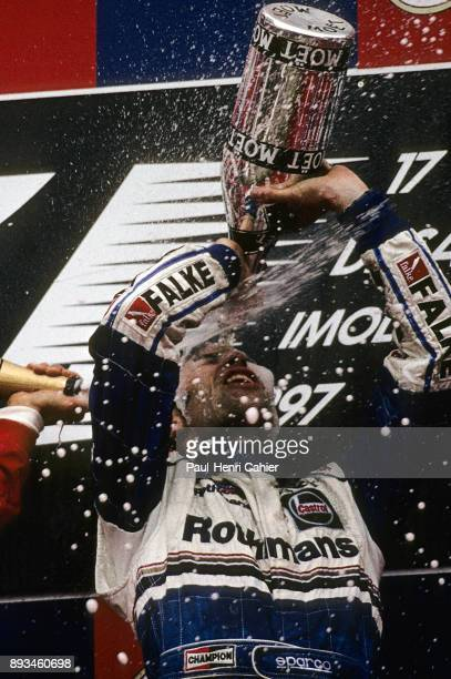 Heinz-Harald Frentzen, Grand Prix of San Marino, Autodromo Enzo e Dino Ferrari, Imola, 27 April 1997. Heinz-Harald Frentzen celebrating his victory...