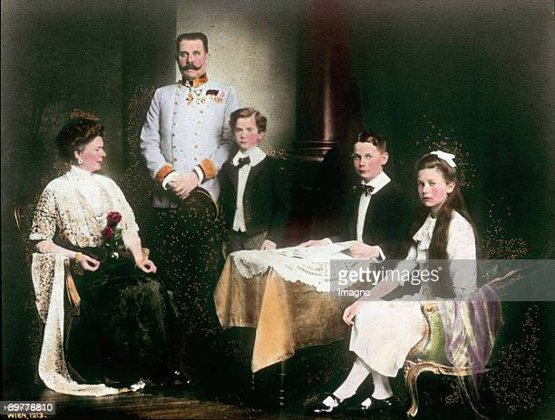 Heir apparent Franz Ferdinand with his family Vienna Photograph by Hermann Clemens Kosel Handcolored lantern slide 1913