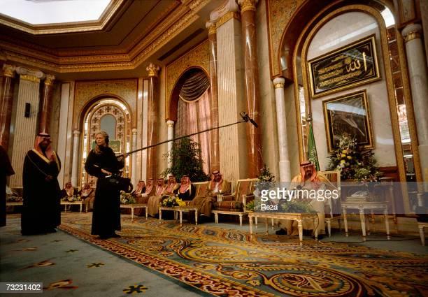 Heir Prince Abdullah bin Abdulaziz Al Saud receives Australian TV channel's journalists at his palace on January 2003 in Janadiyah Saudi Arabia The...