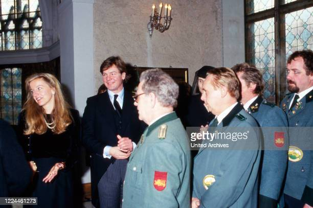 Heir to the throne Ernst August von Hanover and his wife Chantal giving a warm welcome to members of a shooting club Germany 1988