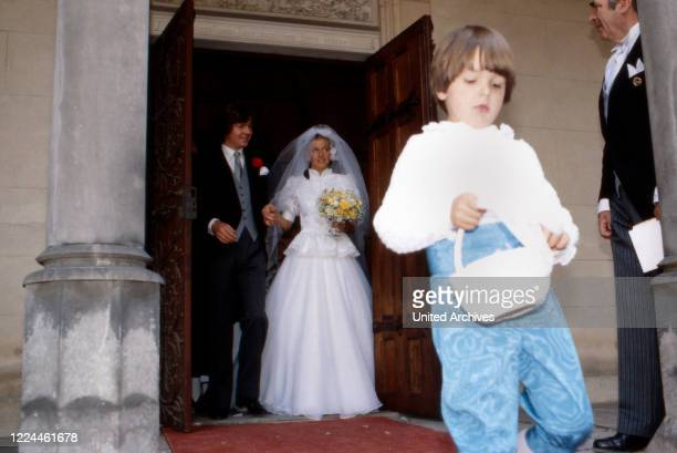 Heir to the throne Ernst August von Hanover at the wedding with Chantal Hochuli at Marienburg castle near Hanover Germany 1981