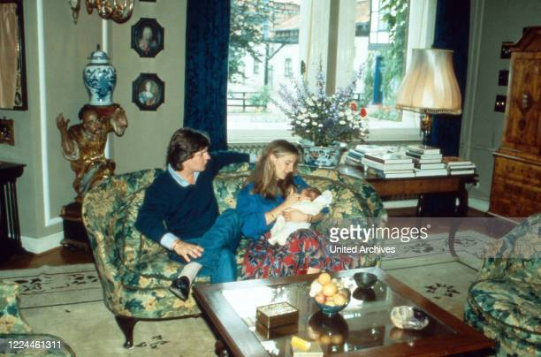 Heir to the throne Ernst August von Hanover with is wife Chantal and their first son Ernst August at Marienburg castle Germany 1983