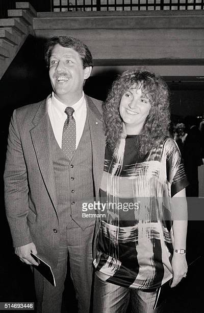 Heiress and SLA kidnapping victim Patty Hearst with her husband Bernard Shaw at the tenth anniversary party for People Magazine at Lincoln Center.