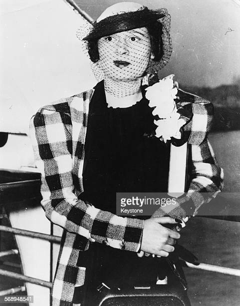Heiress Gloria Vanderbilt on the deck of the Queen Mary ship in New York circa 1935