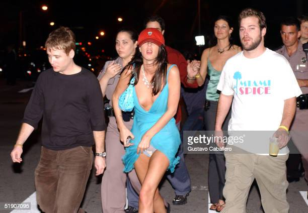Heiress Nicky Hilton leaves the Shelborne Hotel with her boyfriend actor Kevin Connelly January 1 2005 in Miami Beach Florida