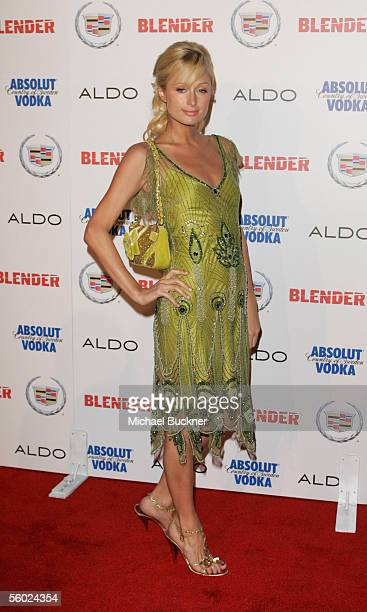 Heiress Paris Hilton arrives at the Blender Magazine Rock and Roll Hollywood Bash at a private residence on October 27 2005 in Los Angeles California