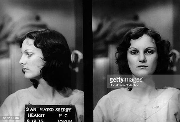 Heiress Patty Hearst poses for a San Mateo Sheriff mugshot after her arrest for bank robbery on September 19, 1975 in San Francisco, California.