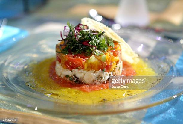 Heirloom tomato tartar with Dungeness crabmeat salad at the Shrine Auditorium in Los Angeles California