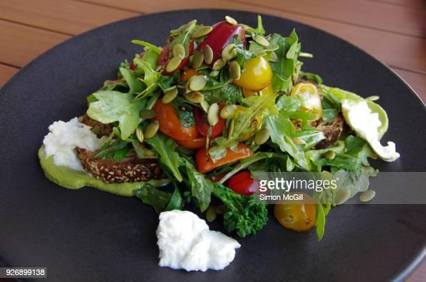 Heirloom tomatoes, broccolini, basil, buffalo mozzarella, avocado and pepitas on seeded rye bread toast