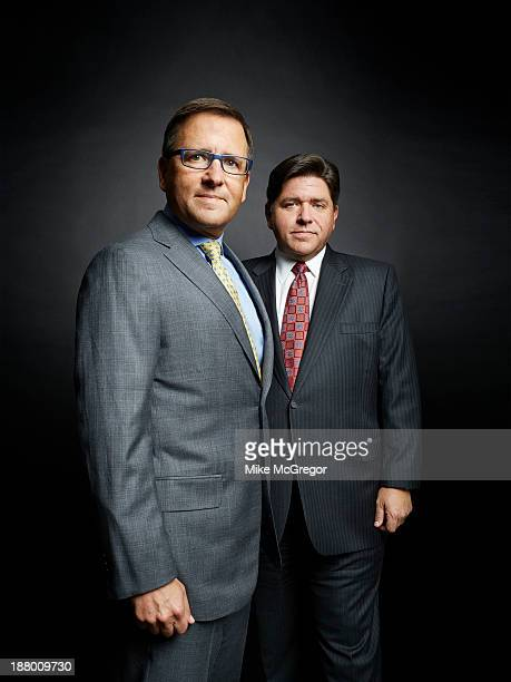 Heirs to the Hyatt Hotel fortune Tony Pritzker and JB Pritzker are photographed for Bloomberg Markets Magazine on September 13 2013 in Chicago...