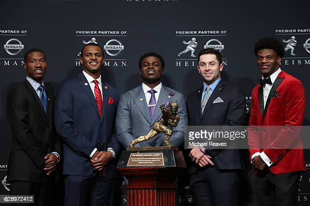 Heisman finalists Dede Westbrook of the Oklahoma Sooners Deshaun Watson of the Clemson Tigers Jabrill Peppers of the Michigan Wolverines Baker...