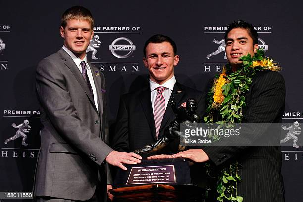 Heisman finalists quarterback Collin Klein of the Kansas State Wildcats quarterback Johnny Manziel of the Texas AM University Aggies and linebacker...
