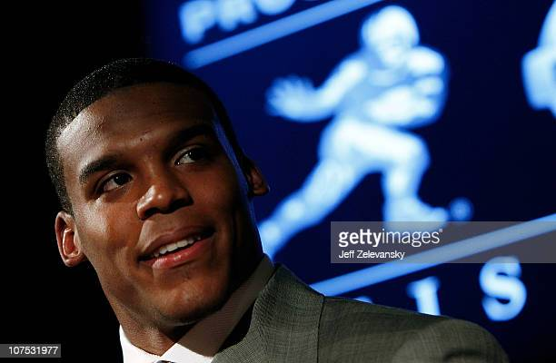 Heisman Trophy candidate Cam Newton of the Auburn University Tigers speaks at a press conference at The New York Marriott Marquis on December 11 2010...