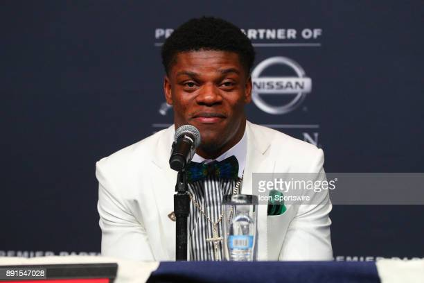 Heisman Trophy Finalist University of Louisville quarterback Lamar Jackson during the Heisman Trophy Finalists Press Conference on December 9 at the...