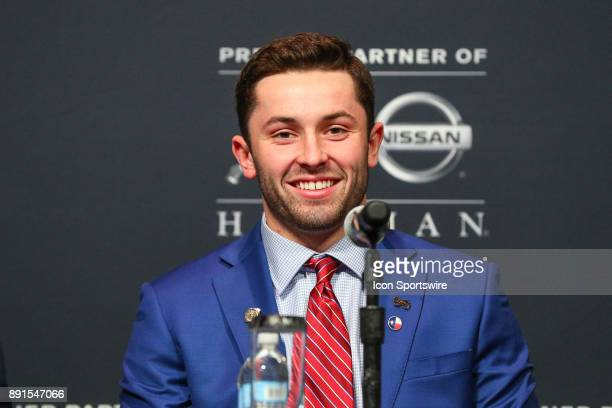 Heisman Trophy Finalist University of Oklahoma quarterback Baker Mayfield during the Heisman Trophy Finalists Press Conference on December 9 at the...