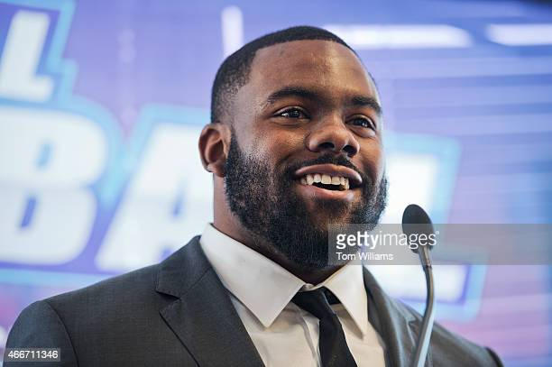 Heisman Trophy winner and New Orleans Saints running back Mark Ingram speaks during an event at 101 Constitution Avenue with the National Bankers...