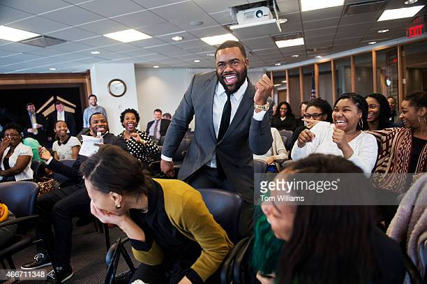 Heisman Trophy winner and New Orleans Saints running back Mark Ingram celebrates during a game of Financial Football during an event at 101...