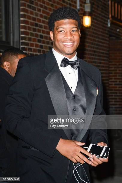 Heisman Trophy winner Jameis Winston leaves the 'Late Show With David Letterman' taping at the Ed Sullivan Theater on December 16 2013 in New York...