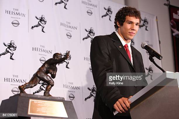 Heisman Trophy winner Sam Bradford of the University of Oklahoma addresses the media at the Sports Museum of America on December 13 2008 in New York...