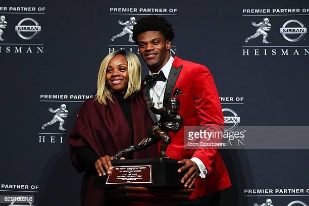 Heisman Trophy winner University of Louisville quarterback Lamar Jackson with his mother Felicia Jones after winning the 81st Annual Heisman Trophy...