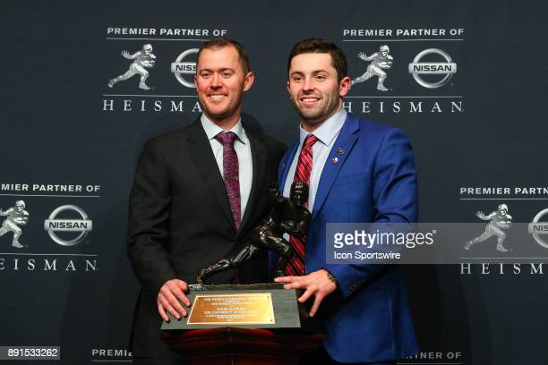 Heisman Trophy Winner University of Oklahoma quarterback Baker Mayfield and University of Oklahoma Head Coach Lincoln Riley pose with the Heisman...