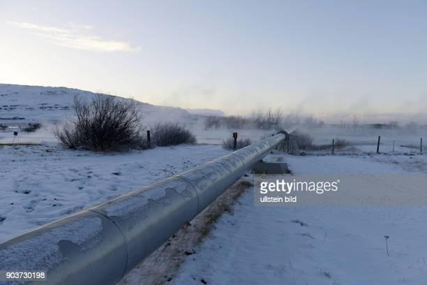 Heisse Quellen Deildartunguhver nahe Reykholt speisen warmes Wasser in die Warmwasserversorgung der Region