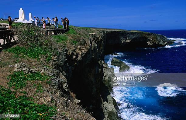 heiwa kannon memorial on banzai cliff. - saipan stock pictures, royalty-free photos & images