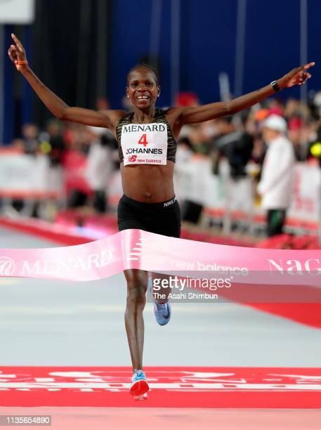 Helalia Johannes of Namibia crosses the finish line to win the Nagoya Women's Marathon at Nagoya Dome on March 10, 2019 in Nagoya, Japan.