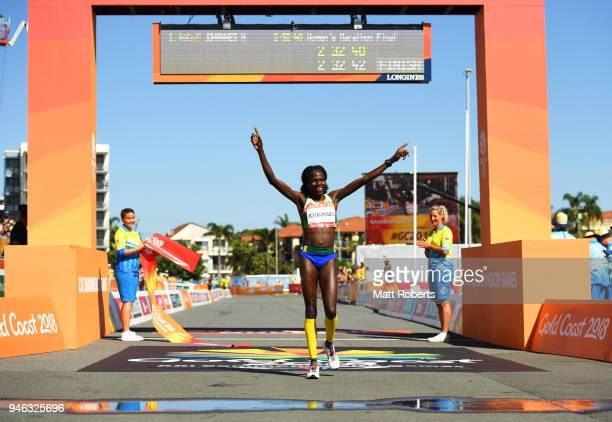 Helalia Johannes of Namibia crosses the line to win gold in the Women's marathon on day 11 of the Gold Coast 2018 Commonwealth Games at Southport...