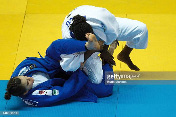 Helana Romanelli in action against Vanessa Chala during their fight at semifinal -70 Kg female category as part of the Grand Slam of Judo at Caio...