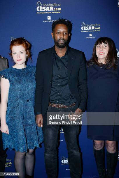 Actress Iris Bry director Ladj Ly and producer Sylvie Pialat attend the 'Diner Des Producteurs' Producer's Dinner Cesar 2018 Held at Four Seasons...