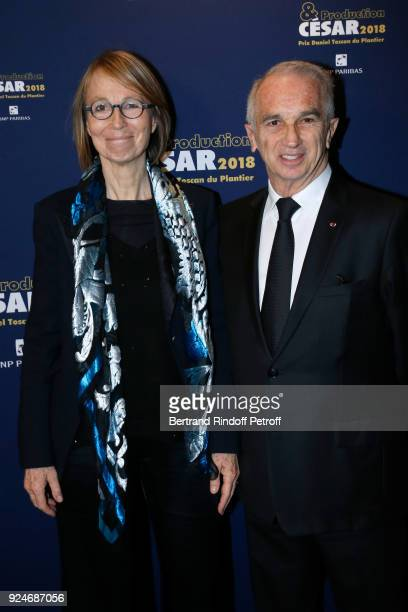 French Minister of Culture Francoise Nyssen and President of the Academy of Arts and Techniques of Cinema Alain Terzian attend the 'Diner Des...