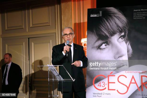 President of the Academy of Arts and Techniques of Cinema Alain Terzian presents the 'Diner Des Producteurs' Producer's Dinner Cesar 2018 Held at...