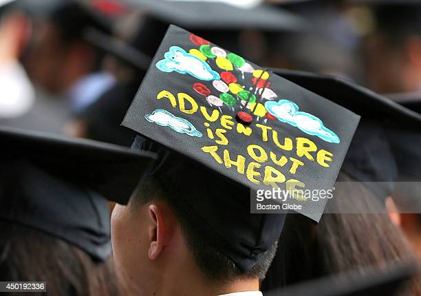 MIT held its graduation on it's campus A graduate has an inspirational saying on his cap