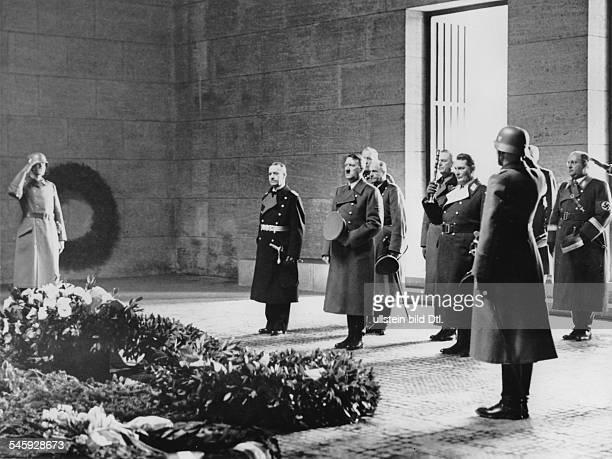 Heldengedenktag wreath ceremony in the Neue Wache Unter den Linden in Berlin from right Admiral Erich Raeder Adolf Hitler field marshals Walther von...