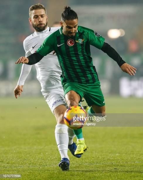 Helder Barbosa of Akhisarspor in action against Nejc Skubic of Atiker Konyaspor during the Turkish Super Lig football match between Akhisarspor and...