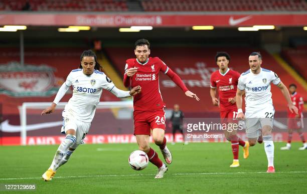 Helder Costa of Leeds United battles for possession with Andy Robertson of Liverpool during the Premier League match between Liverpool and Leeds...