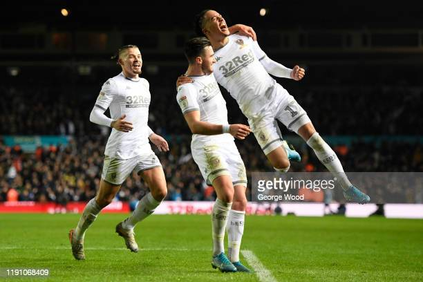 Helder Costa of Leeds United celebrates after scoring his side's third goal during the Sky Bet Championship match between Leeds United and...