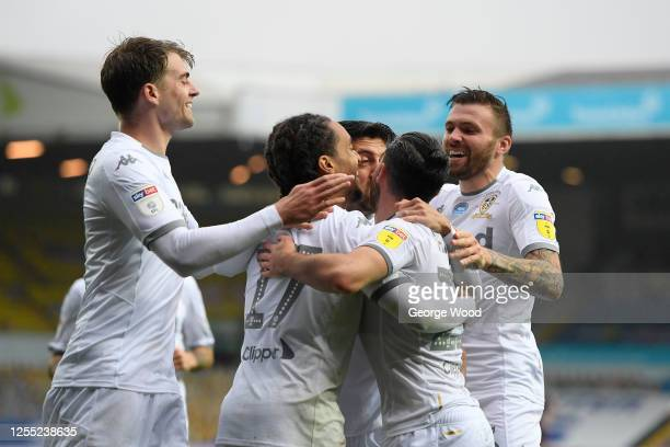 Helder Costa of Leeds United celebrates with team mates after he scores his team's second goal during the Sky Bet Championship match between Leeds...