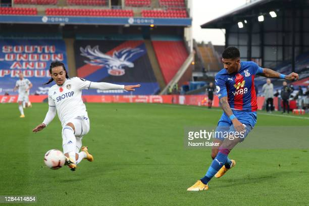 Helder Costa of Leeds United scores an own goal for Crystal Palace's third goal during the Premier League match between Crystal Palace and Leeds...