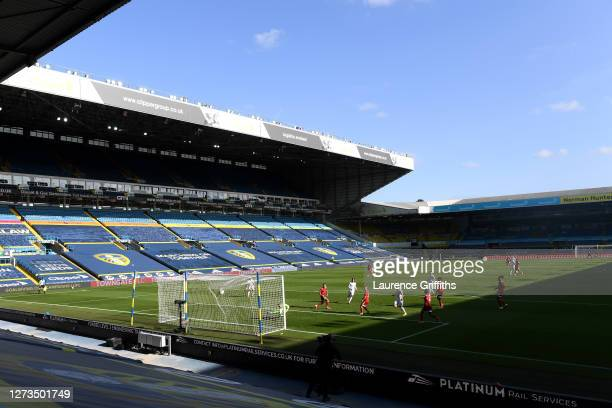 Helder Costa of Leeds United scores his team's fourth goal during the Premier League match between Leeds United and Fulham at Elland Road on...