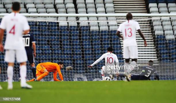 Helder Costa of Portugal scores the opening goal during the International Friendly match between Scotland and Portugal on October 14 2018 in Glasgow...