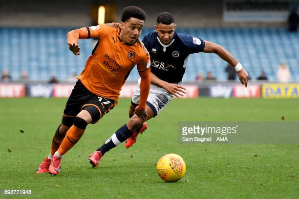 Helder Costa of Wolverhampton Wanderers and James Meredith of Millwall during the Sky Bet Championship match between Millwall and Wolverhampton at...