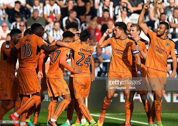 Helder Costa of Wolverhampton Wanderers celebrates after scoring a goal to make it 02 during the Sky Bet Championship match between Newcastle United...
