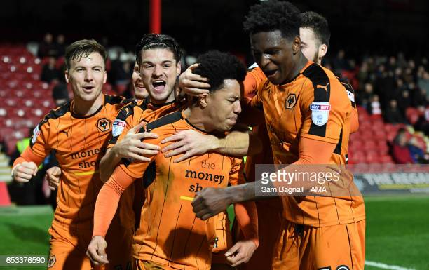 Helder Costa of Wolverhampton Wanderers celebrates after scoring a goal to make it 12 during the Sky Bet Championship match between Brentford and...