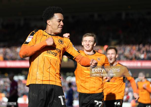 Helder Costa of Wolverhampton Wanderers celebrates after scoring a goal to make it 31 during the Sky Bet Championship match between Wolverhampton...